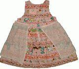 子供服 $A エプロン付きワンピース:ピンク 90・95cm