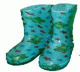 子供服 ●※88NAR※ カエル長靴総柄 ブルー 13・14cm