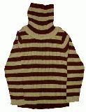子供服 $A  ★ボーダーリブニットタートル:チャイロ 140cm