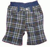 子供服 $A チェック ベビーボトム:ブルー 80cm