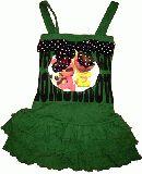 子供服 $A バンビちゃんリボン付き ワンピース:グリーン 90・100cm