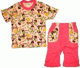 子供服 ●$88A ★半そで&7分丈パジャマ:ピンク男女柄