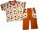 子供服 $A¥1680 きのこ総柄 半そで&7分丈パジャマ:茶色