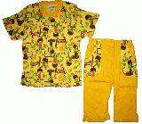 子供服 $99A   半そで&7分丈パジャマ:キイロ 80・100cm