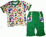 子供服 $88A ★レインボー 半そで&7分丈パジャマ:グリーン 80cm