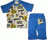 子供服 $A 半そで&7分丈パジャマ:ブルー 80・90cm