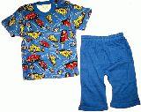 子供服 $A¥1680半そで&7分丈パジャマ:車柄 ブルー