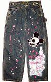 子供服 $105�p スカルキャンディのリメイクジーンズ ミッキー悪そう・・