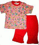 子供服 ●$A88¥1600 チェック ゾウさん 半そでパジャマ アカ 80cm