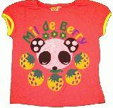 子供服 $A レトロ パンダ&いちご Tシャツ:80・100・110cm