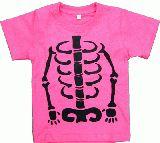 子供服 ●RF99A ●ホネホネなTシャツ:ピンク 100cm 手まで