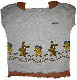 子供服 $A レトロうさちゃん Tシャツ:グレー 95cm