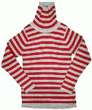 子供服 $A ボーダーリブニットタートル:グレー×アカ 95・120cm