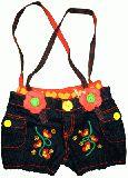 子供服 $A デニム 刺繍サロペットホットパンツ:95cm