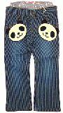 子供服 $A パンダ ワッペン付き ストレッチパンツ ヒッコリー 80cm