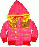 子供服 A99$ きのこ刺繍付き 中綿キルトナイロンジャケット:ピンク