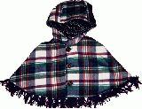 子供服 $A チェック フリンジ付きポンチョ♪ アオ 90・110cm