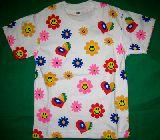 子供服 RFA$●スマイル フラワー総柄Tシャツ:シロ 100cm