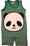 子供服 ●$88A ボーダーパンダ ロンパース グリーン 90cm