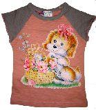 子供服 $A ワンコちゃん フレンチスリーブTシャツ 11・120・130cm