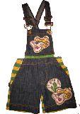 子供服 $ A★トラちゃんが かわいげ デニムハーフパンツ サロペット 110・120cm