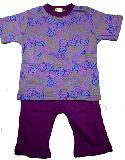 子供服 $A¥1900 半そで ニコちゃんお顔いっぱい パジャマ パープル