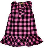 子供服 $ チュニック風 チェックなワンピース ピンク
