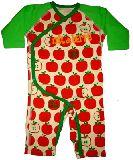 子供服 $A りんご総柄 ロンパース ベージュ 60〜70cm