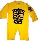 子供服 $99A¥1500 ホネホネ 長袖:ロンパース キイロ 70・80cm