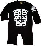 子供服 ●$88A¥1500 ホネホネ 長袖:ロンパース クロ 70cm