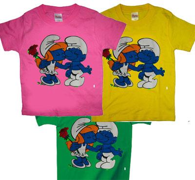 日本直送*新款儿童短袖手绘风t恤---蓝精灵,8色选,亲子装