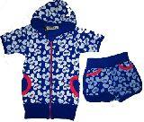 子供服 $※NA ハート総柄:ジップアップ 半袖パーカー:ホットパンツ上下セット 110・120cm