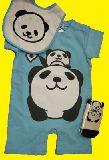 子供服 ●$99A★親子パンダロンパース:くつ下:ビブセット ブルー 70cm