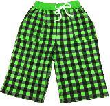 子供服 ▲ チェックのハーフパンツ:グリーン 90cm