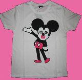 子供服 $A88N★★ミッキー★キュービック マウス:Tシャツ:ミッキー白 レディースサイズ