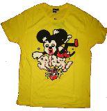 子供服 △A88★ミッキー★キュービック マウス:Tシャツ:キイロ 130cmからメンズサイズまで