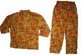 子供服 $A¥1600 うさちゃん:パンダ総柄 長袖パジャマ キイロ 80から130cmまで
