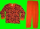 子供服 $A★ヒョウ柄 長袖:パジャマ オレンジ 95・100・110・120・140cm
