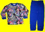 子供服 $チェックなユニオンジャック 長袖:パジャマ アオ 80から140cmまで