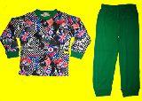 子供服 $チェックなユニオンジャック 長袖:パジャマ グリーン 80から140cmまで