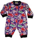 子供服 ●$A88★¥1500 ストーンズ:ドクロ総柄 スウェットロンパース パープル 70・80cm
