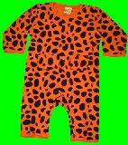 子供服 $A¥1900 ヒョウ柄 ちょっと厚めな長袖ロンパース オレンジ