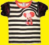 子供服 ▲A$ かわいい♪モンキーちゃん 袖あみ:ボーダー:Tシャツ 90cm
