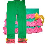 子供服 $88A¥1500 レギンス 裾レース:リボン グリーン80・110cm