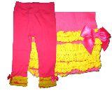 子供服 $▲¥1500 レギンス 裾レース:リボン ピンク 80から130cmまで