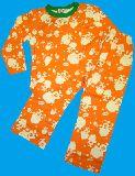 子供服 $A ★かわいいボーイ総柄 長袖パジャマ オレンジ 80から120cmまで