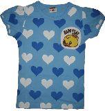 子供服 $ ヒヨコちゃんワンポイント付き ハートいっぱいTシャツ ブルー 100cm