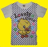子供服 $ A88 ヒヨコちゃんプリント ドット Tシャツ シロ110・120・130cm
