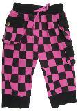 子供服 $A ブロックチェックなカーゴパンツ:七分丈 ピンク 120cm