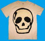 子供服 ●88A$大きなドクロ:Tシャツ ベージュ スパンコール付き